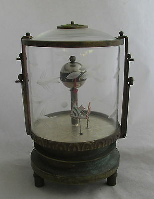 Unusual Antique Vintage Aquarium Fish Desk Clock Cut Glass & Brass