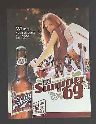 "Schlitz Beer Posters - ""Classic 1960's Formula""- ""Where were you in '69""  NOS"