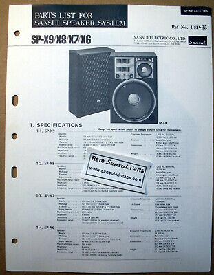 Original Part List for Sansui Speakers SP-X6, SP-X7, SP-X8, SP-X9 ! segunda mano  Embacar hacia Argentina
