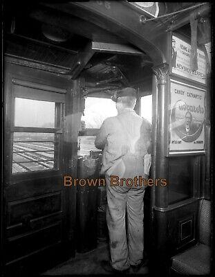 1900s New York City Subway Train Engineer Chocarets Glass Photo Camera Negative