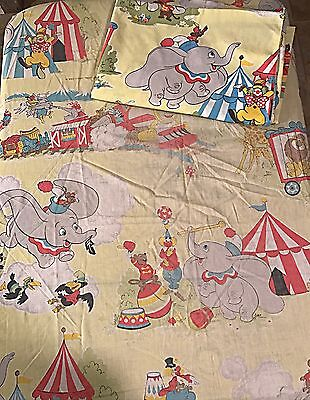 Vintage Walt Disney Dumbo Circus Design Twin Flat Fitted Sheet Yellow Pillowcase