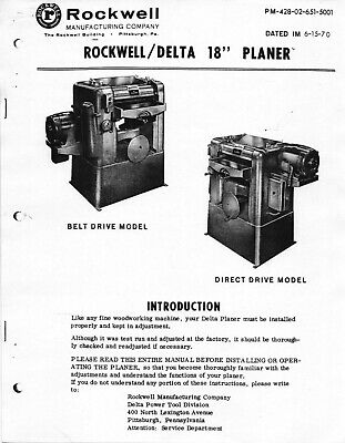 1970 Delta Rockwell 18 Inch Planer Instruction Maintenance Manual 9 Additional