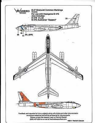 Warbird B-47E Stratojet, Common Markings, Data, Stencil, Walkway Decals 1/72 015