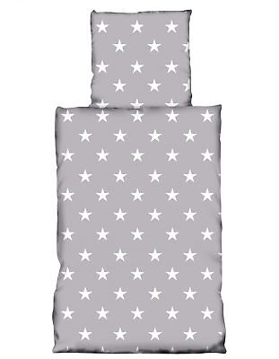 4 tlg Flausch Bettwäsche 135 x 200 cm Stern grau weiß Thermofleece NEU