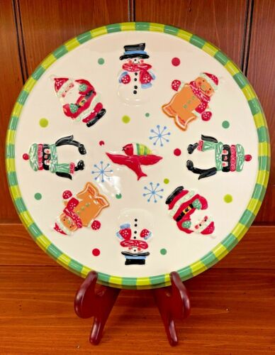 Temp-tations Winter Whimsy Dual Purpose Cake Plate and Divided Plate Snowman