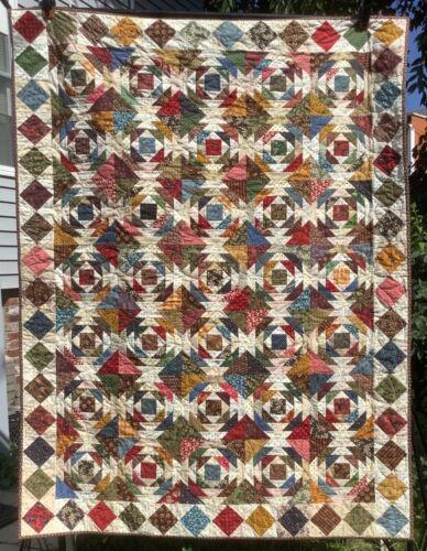 """Scrappy Pineapple Quilt #3~49""""x64""""~Multi Civil War Repr. Fabrics~Made in U.S.A."""