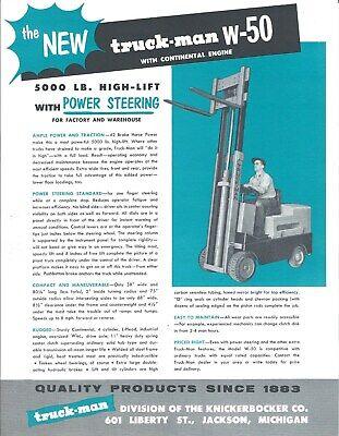 Fork Lift Truck Brochure - Truck-man - W-50 - Continental Engine Lt366