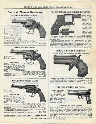 1929 PAPER AD 2 Sided  - The H. & D. Folsom Arms Co. - Smith & Wesson Revolvers