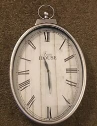 Pier 1 Imports Farmhouse Rustic Style Galvanized Oval Silver Wall Clock