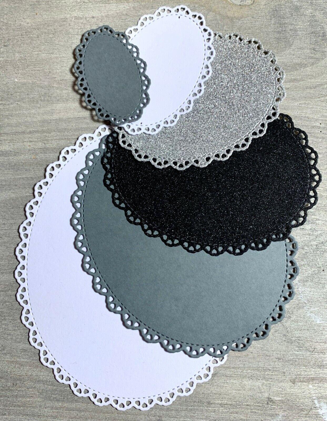 Stanzschablone Cutting dies Zierdeckchen oval mit Herzrand 6 Stk, bis 11x13 cm