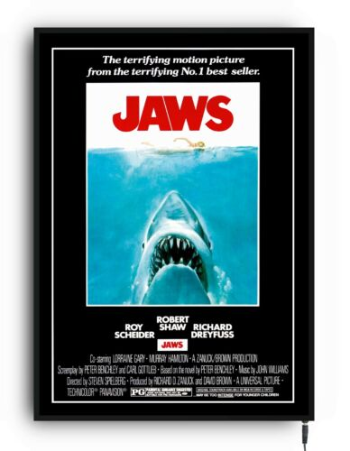 JAWS Light up movie poster framed lightbox led sign home cinema film man cave