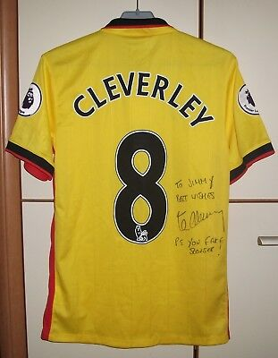 WATFORD 2016/2017 HOME FOOTBALL SHIRT JERSEY MAGLIA DRYWORLD SIGNED #8 CLEVERLEY image