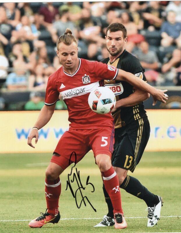 Michael Harrington signed 8x10 Photo w/COA Chicago Fire MLS Soccer