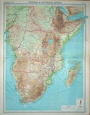 1920 LARGE MAP ~ CENTRAL & SOUTHERN AFRICA ~ WITH MADAGASCAR ~ 23