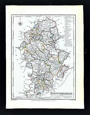 1831 Lewis Map England - Staffordshire - Stafford Uttoxeter Wolverhampton Hanley