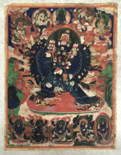 Antique 19th century (or before) Sino-Tibetan or Mongolian Thangka (Tangka).
