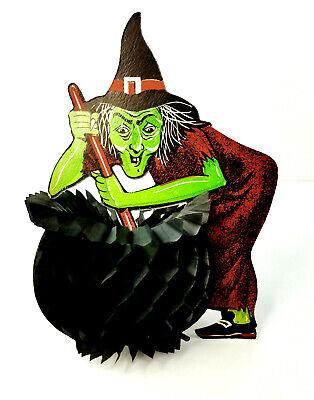 Vintage Beistle Halloween Witch Cauldron Paper Die Cut Honeycomb Decoration - Halloween Decorations Witches Cauldron