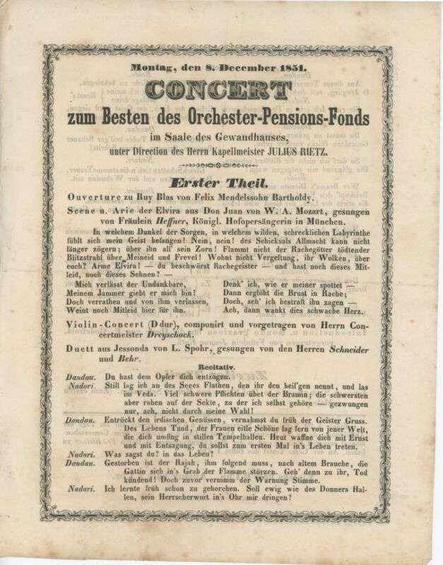 Original 1851 Program including the Leipzig premiere of SCHUMANN Symphony No. 3