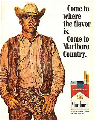 1970 Vintage ad for Marlboro Country Cowboy Tobacco Cigarettes Hat 01/10/21