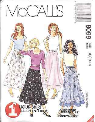 (8099 UNCUT McCalls SEWING Pattern Misses Pull on A Line Double Tiered Skirt OOP)