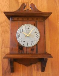 Vintage CARSON Early American Wall Clock Battery Operated 21-1/2H