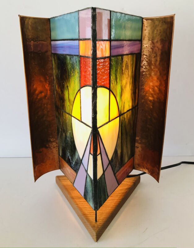 Vintage MCM Triangle Shaped Lamp Copper & Stained Glass Wood Base
