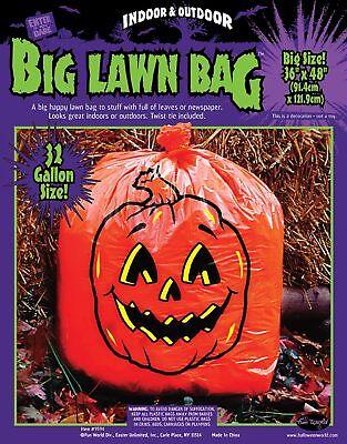 1 Big Orange Pumpkin Leaf Bag 32 Gallon Halloween Lawn Decoration Yard Prop - Big Halloween Bags