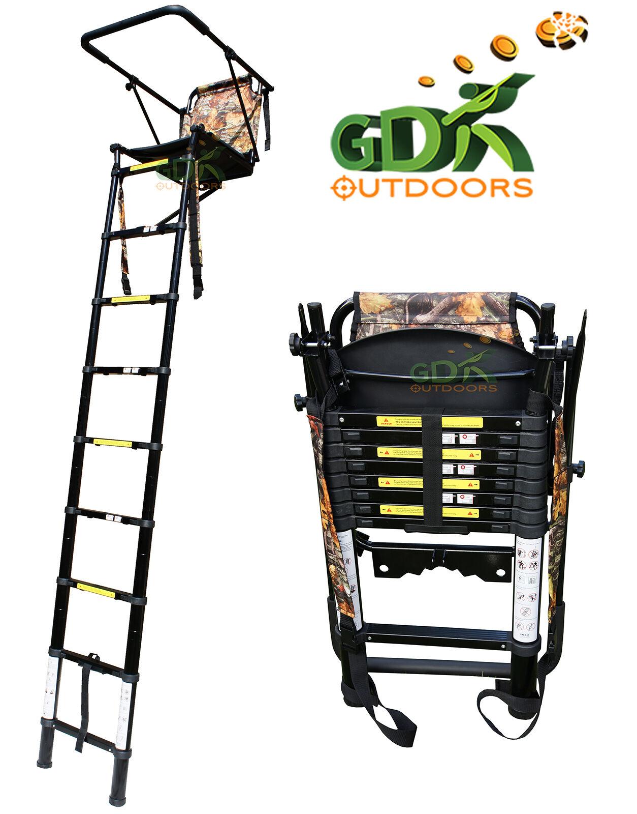 Gdk 2 5m Telescopic High Tree Ladder High Seat Folding
