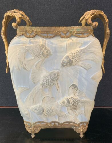 THE BEST ANTIQUE PHOENIX/CONSOLIDATED GLASS FISH VASE WITH GOLD FILIGREE ACCENT!