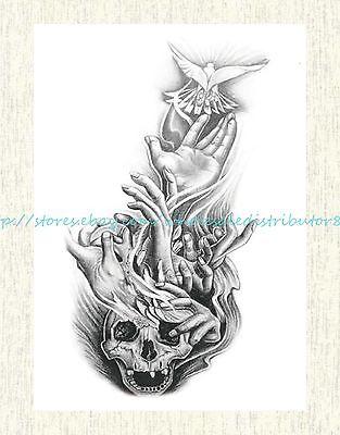 US SELLER, tattoo Halloween sugar skull 8.25