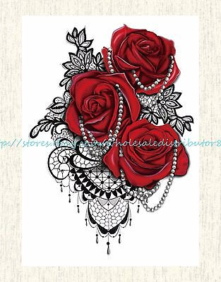 US SELLER, jewelry red rose lace 8.25