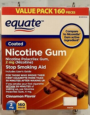 Nicotine Gum by Equate 2 mg Coated Cinnamon Flavor 160 Pieces 2mg Expires 1/2022