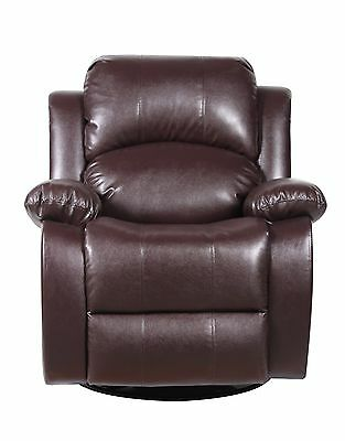 Bonded Leather Rocker and Gimbal Recliner Living Room Chair - Brown