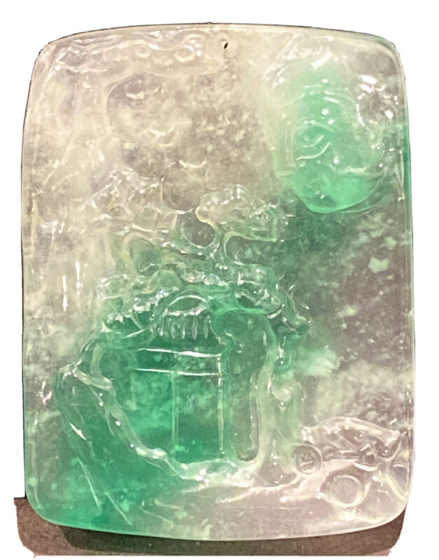 "Chinese  Icy Jadeite  Pendant Depicting Mountain And Landscape 1  7/8""(43mm) Hig"