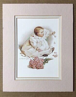 """Vintage 1991 Maud Humphrey Art Print """"Babies Roses"""" Portal Publications Ltd"""