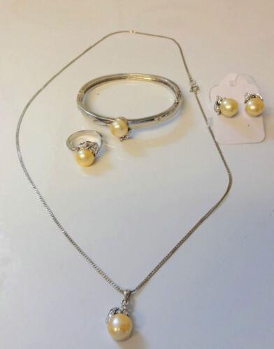 6 pc Parure Necklace Pendant Earring Bracelet Ring White Gold 14k Gold Plate Set