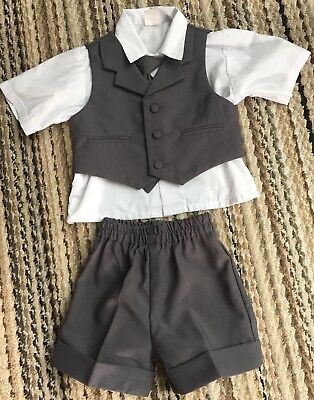 Ring Bearer Outfit - Shorts, shirts, vest & necktie - XL
