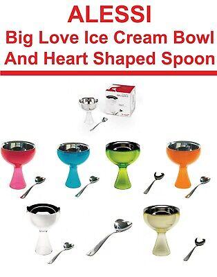 ALESSI Big Love Ice Cream Bowl & Heart-Shaped Spoon AAM101S FREE DELIVERY Big Love Ice Cream Bowl