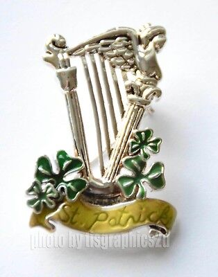 St. Patrick's Day Pin/ Brooch ~ Silver-tone / Irish Shamrocks / Harp