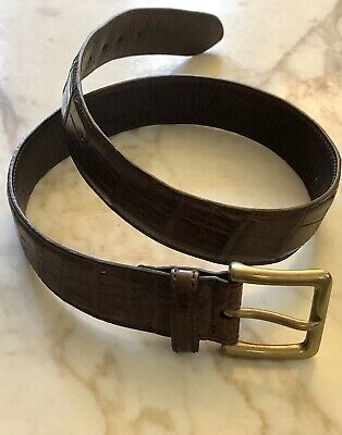 "RALPH LAUREN ALLIGATOR BELT. BROWN. BRASS BUCKLE.  SIZE SMALL.  1.5"" W. $450"