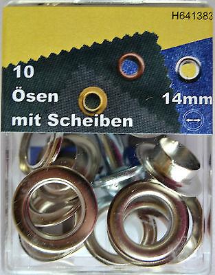 10 Ösen & Scheiben 14 mm silber