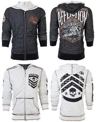 AFFLICTION Men HOODIE Sweat Shirt ZIP UP Jacket REVERSIBLE Sidecar BIKER UFC $98 Reversible Sweatshirt