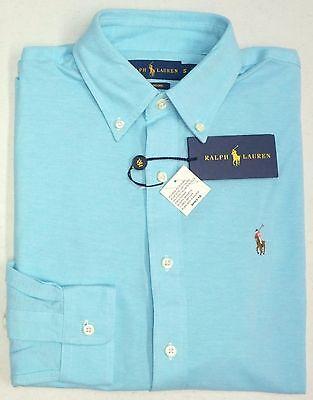 Blue Knit Polo Shirt (NWT $98 Polo Ralph Lauren LS Light Aqua Blue KNIT Oxford Shirt Mens S  XL NEW)