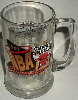 BEER DRINKING GLASS MUG NBA BASKETBALL CHICAGO BULLS 1997 STATS PLAYOFF RESULTS