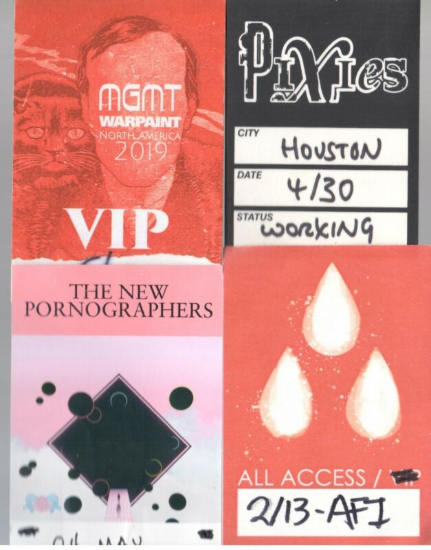 Show Passes Lot of 4! Pixies AFI New Pornogrphers MGMT