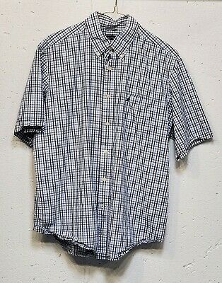 Nautica Mens Blue Plaid 100% Cotton Short Sleeve Button Down Pocket Shirt Large