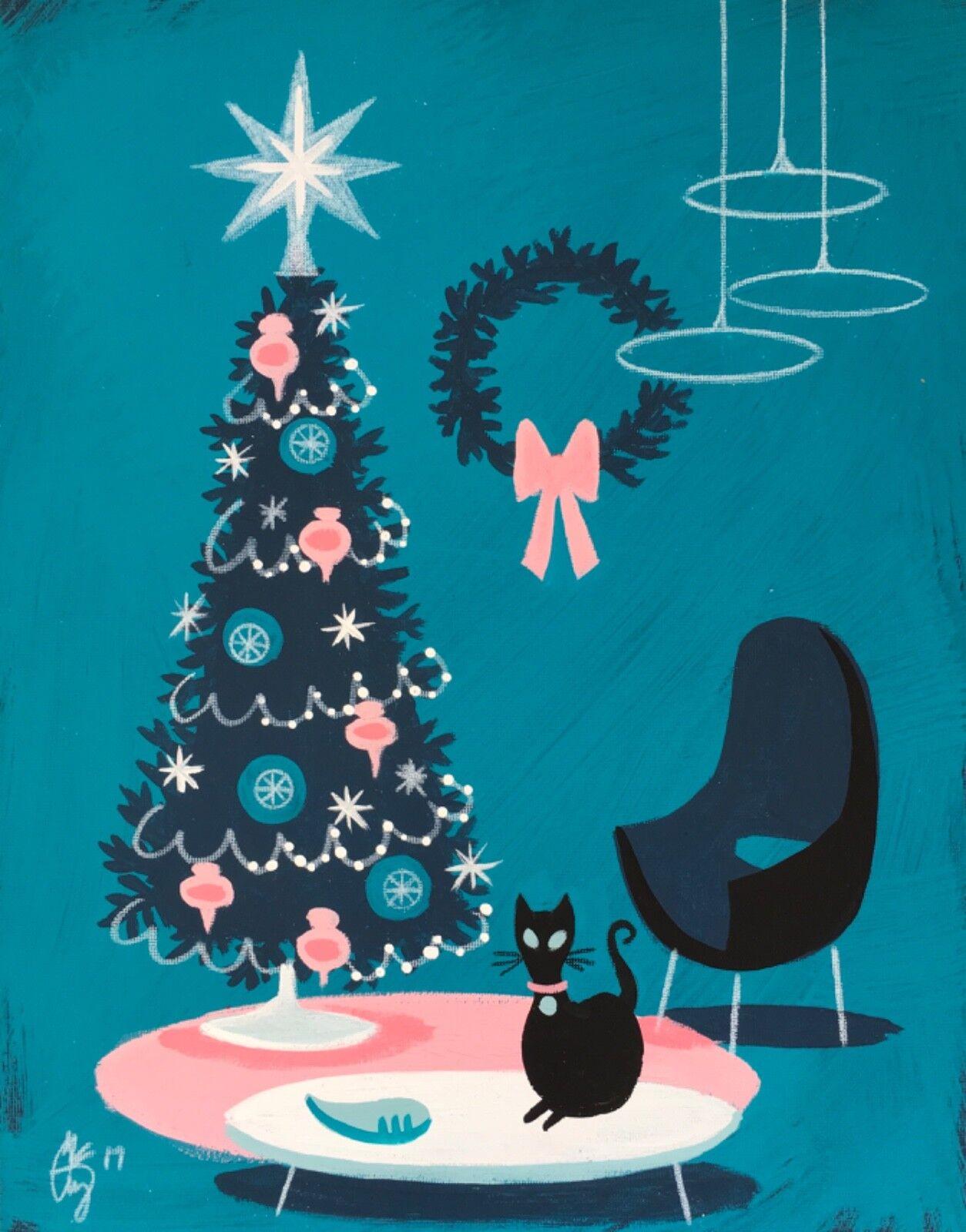 Купить EL GATO GOMEZ RETRO VINTAGE CHRISTMAS TREE HOLIDAY MID CENTURY MODERN BLACK CAT