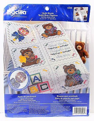 "Bucilla Baby Quilt Blocks Teddy Bear Playtime Set of 6-15"" blocks #43246 NIP"