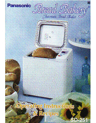 Panasonic SD-251 Bread Machine Owners Manual User Guide Recipes COLOR Copy for sale  Shipping to Nigeria