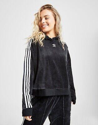 Size 10 - Women's Adidas Originals Velor Velvet Cropped Hoodie In Black DZ8319